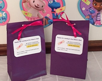 Personalized Doc Mcstuffins Birthday Party Favor Bags, Doc Mcstuffins Treat Bags, Doc Mcstuffins Goody Bags-Set of 10 (Ribbon Included)