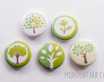 Ecology / environment / trees and plants - set of 5 button badges (25mm)