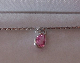 Sterling Silver Bracelet with Pink Stones