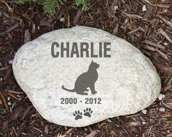 Personalized Cat Garden Stone Cat Silhouette Name & Years Memorial Engraved LARGE Garden Stone
