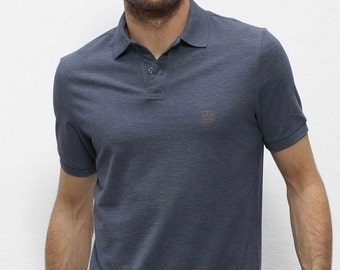 POLO 100% Organic cotton  short sleeve blue heather gray
