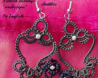 """Pattern earrings """"arabesque"""" tatting shuttles"""