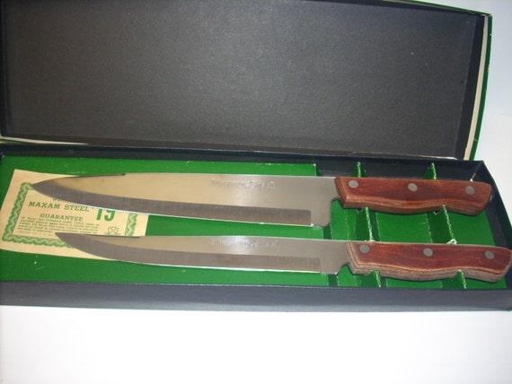 vintage maxam m 2 steel kitchen knife 2 piece set vintage maxam stainless steel kitchen knife japan made