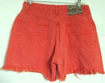 SALE Marked Down 30% - Vintage 80's,Faded Orange HI WAIST Denim Cut Off Shorts By Bugle Boy.31W (11)