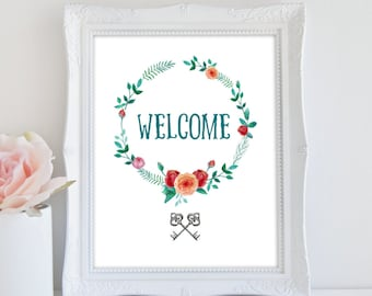 Welcome Sign, Instant Download, Floral Decor, Welcome Print, Wreath Art Print