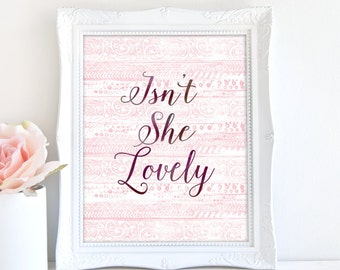Isn't She Lovely, Pink Nursery Print, 8x10 Art Print, Typography Print, Printable Art