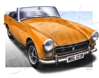 Personalised Illustration of Your MG Midget Austin Healey Sprite