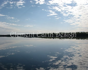 Clouds Sky Reflecting on Water, 14x11, Instant Download, Lake, Digital Printable, Fine Art Digital Photo, Photography, mirror image