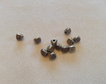 Hill tribe silver triangular flower beads