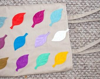 Cotton Canvas Leaf Tote Bag