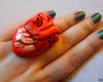 Anatomical Human Heart Ring Gore Halloween Christmas