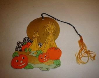 Old Vintage Halloween Cardboard Pumpkins Jack O' Lantern Bridge Tally Card 1920's-1930's