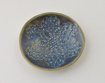 Ceramic Bowl Spoon Rest-Handmade Ceramic Iridescent Blue Colored Textured Spoon Rest-Jewelry