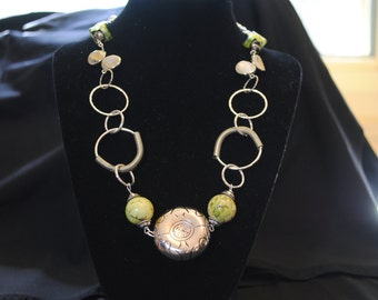 Antiqued Silver plate and green bead necklace