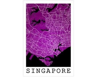 Singapore Street Map, Singapore City Singapore, Modern Art Print, Singapore Map, Singapore Poster, Singapore Art, Singapore Decor Idea