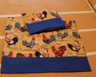 1 pair pillow cases - colorful roosters