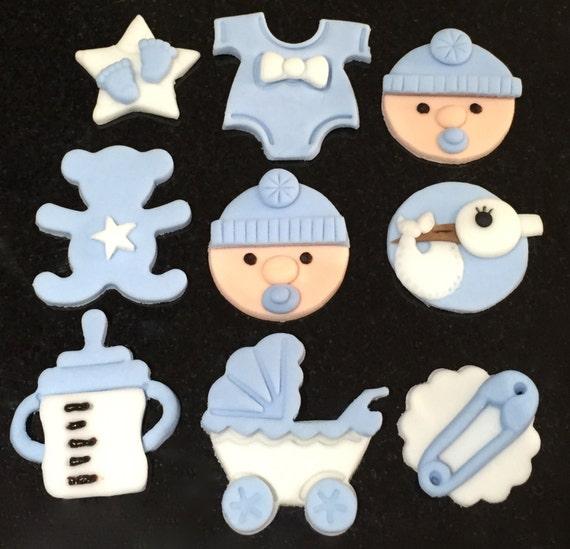 Edible Cake Decorations Baby Boy : 9xedible icing Baby Boy themed cupcake toppers by ...