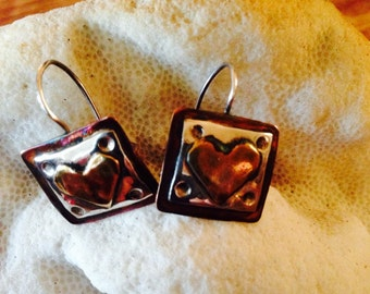 MIXED METALS - Sweetheart Sterling Silver, Copper and Brass Heart Earrings