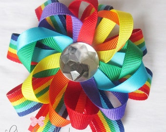 Flower Hair Bow - Rainbow Flower Hair Bow