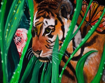 Tiger in the Wild: Original Acrylic Painting on Canvas