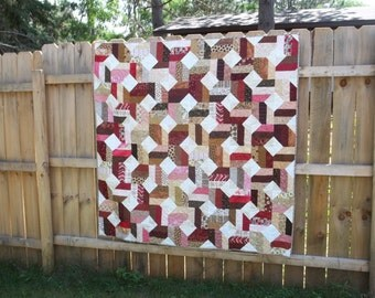 "Raspberry Truffle Quilt, throw size (56"" X 56"")"
