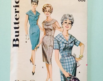 Butterick pattern 9765- size 14 1/2. 1960's. Slimliner dress.