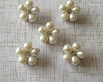 22mm Pearl Flower Button, Metal Button, Flat Back Embellishment, Wholesale Supplies, Wholesale Buttons