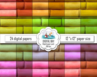 "BAMBOO - Digital paper pack – Instant download - Scrapbook Paper – 12"" x 12"" - Commercial use –Digital background"