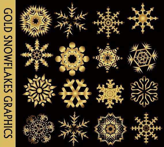 Flocons de neige or Clip Art graphique Golden Clipart neige Noël hiver Scrapbook Digital Download PNG Transparent vecteur utilisation commerciale