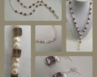 Cream Cultured Pearl Nugget and Smokey Quartz Necklace and Earrings