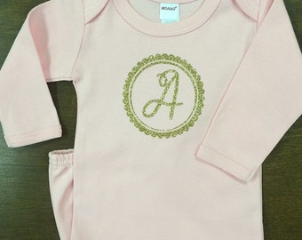 Single Initial Scallop Glitter Layette