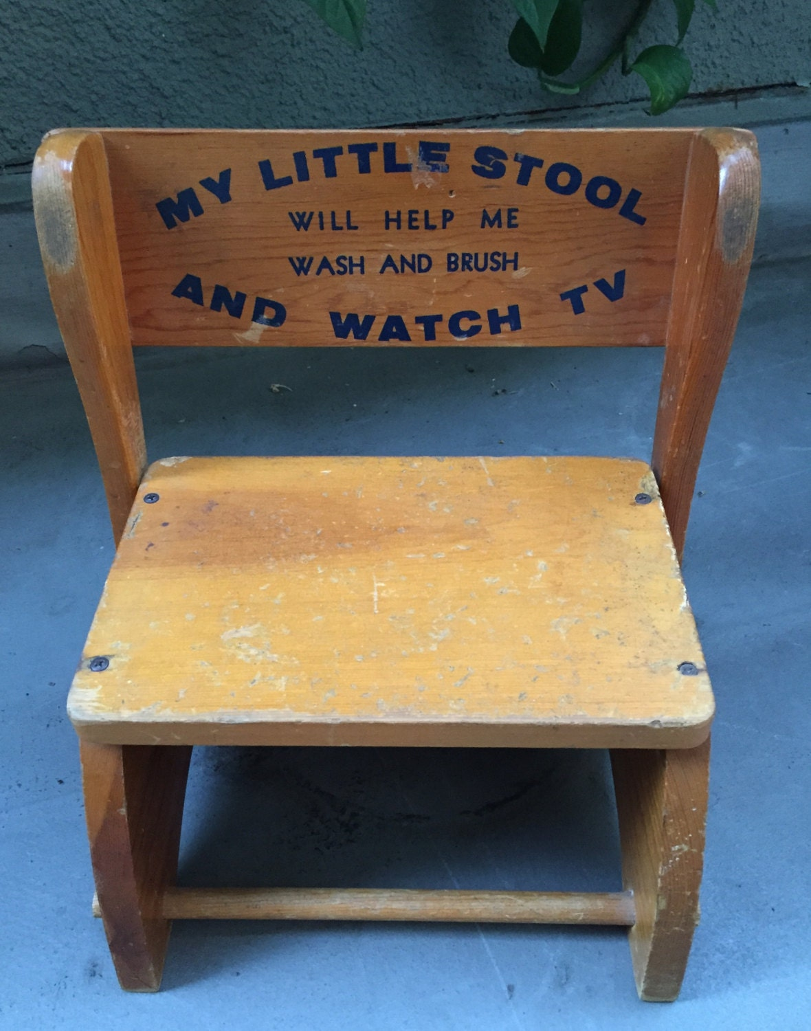 Antique Vintage Wooden Child Seat Step Stool By