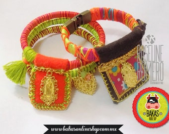 Hippie Bracelet With Virgin of Guadalupe Scapular and colored threads.