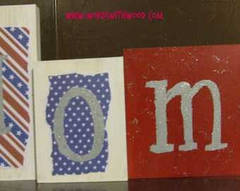 Home, wood blocks, patriotic, 4th of July, red, white, blue