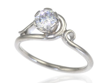 Ornate Diamond Engagement Ring - Moissanite also available - 18ct White or Yellow Gold - Handmade to Size