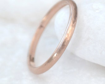 Slim 18k Rose Gold Wedding Ring - Hammered Finish - Eco Friendly - Handmade to Size