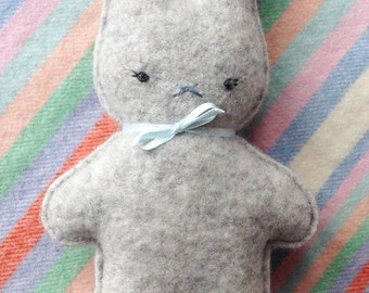 Softest pure cashmere baby bunny toy - light grey