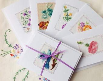 5 x vintage embroidery greetings card