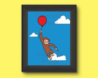 Curious George wall art 13x19, 11x14, 8x10