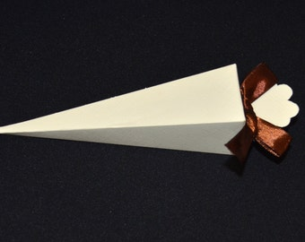 Ivory Cone Paper Favor Boxes- Set of 12