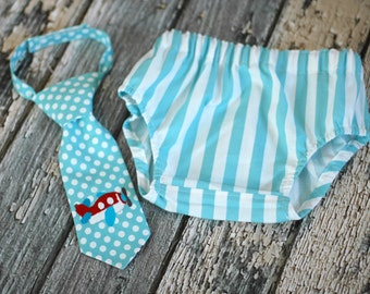 Little Red Airplane Little Guy Tie and Diaper Cover in Red, Aqua, White Stripes Dots - Red Airplane Birthday Party Cake Smash Outfit