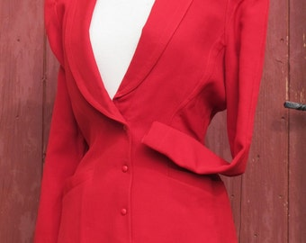 Amazing Cherry Red Thierry Mugler 1980s Jacket