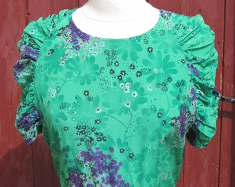 SALE Emerald Green floral Ruched Silk Dress