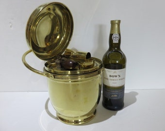 Mid-Century Modern Brass Ice Bucket With Mercury Glass Liner And Accessories