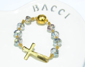Crystal Inspired Bracelet with Gold Cross Accent
