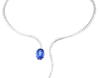 18kt White Gold Tanzanite And Diamond Necklace
