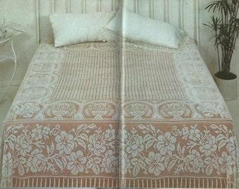 Vintage Double Bedspread in Filet Crochet PDF Pattern