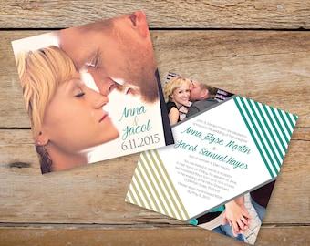 "6"" x 6"" Custom Photo Wedding Invitation - Custom Colors Available"