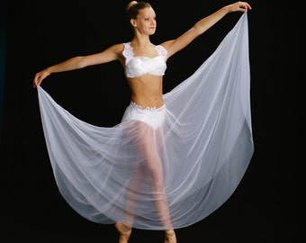 White pointe or lyrical dance costume