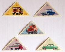 Set of 5 soviet postage triangular stamps 1971. Soviet stamps with cars: Gaz-66, Belaz-540, Volga Gaz-24, Moskvich-412, Zaporozhets Zaz-968